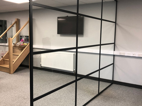 Black framed glass doors and partitions
