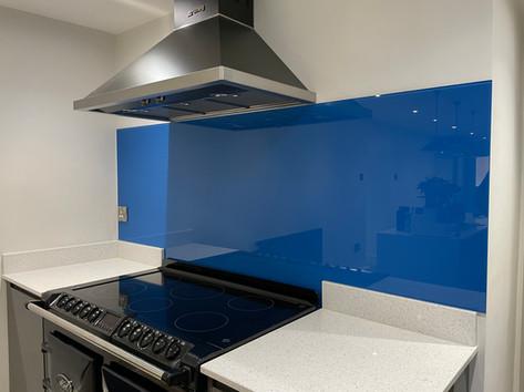 Blue glass splashbacks for kitchen