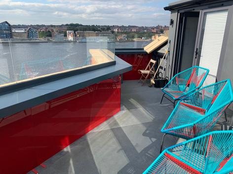Painted glass balcony