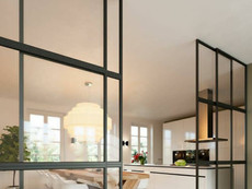 Steel-framed sliding glass partitions