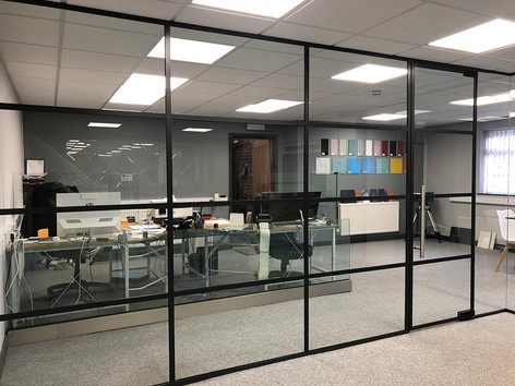 Steel frame glass doors and partitions