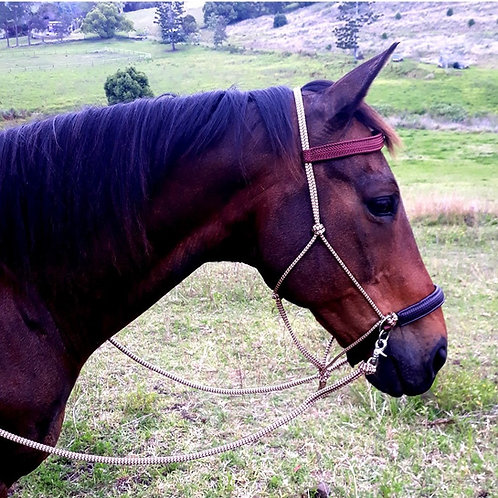 ROPE BITLESS BRIDLE SIDE-PULL WITH REINS SET