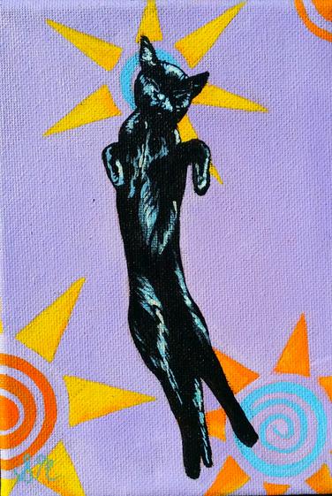 Black Cat Sleeping (Miniature)