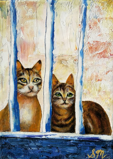 Cats at the Fence (Miniature)