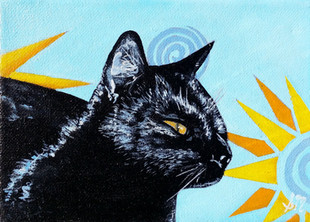 Black Cat Watching (Miniature)