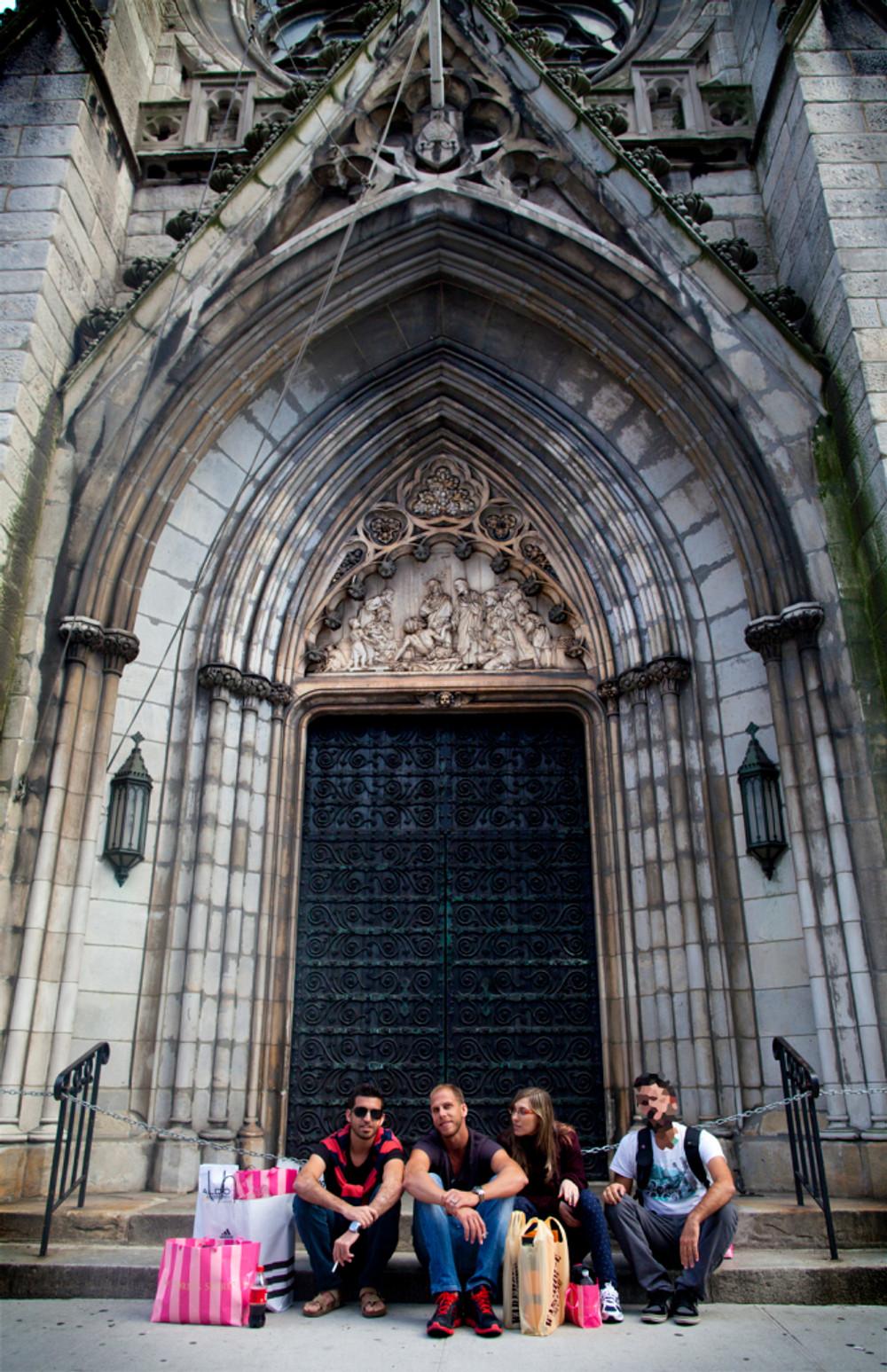 Yaniv, Liad, Emelia and the Secret Rabbi in front of the Grace Church.