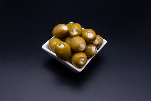 Grüne Oliven mit Knoblauch (200g)