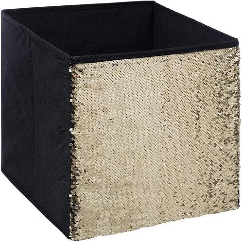 Aufbewahrungsschublade - 31 x 31 cm - Schwarze Pailletten