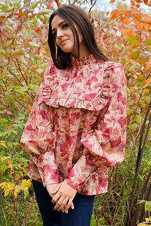 large flower pink blouse made in ireland ruffle and pleats.jpg