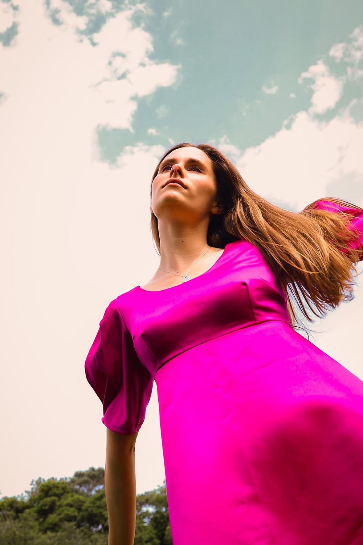 Pink puff sleeve mini dress, with Duchess satin