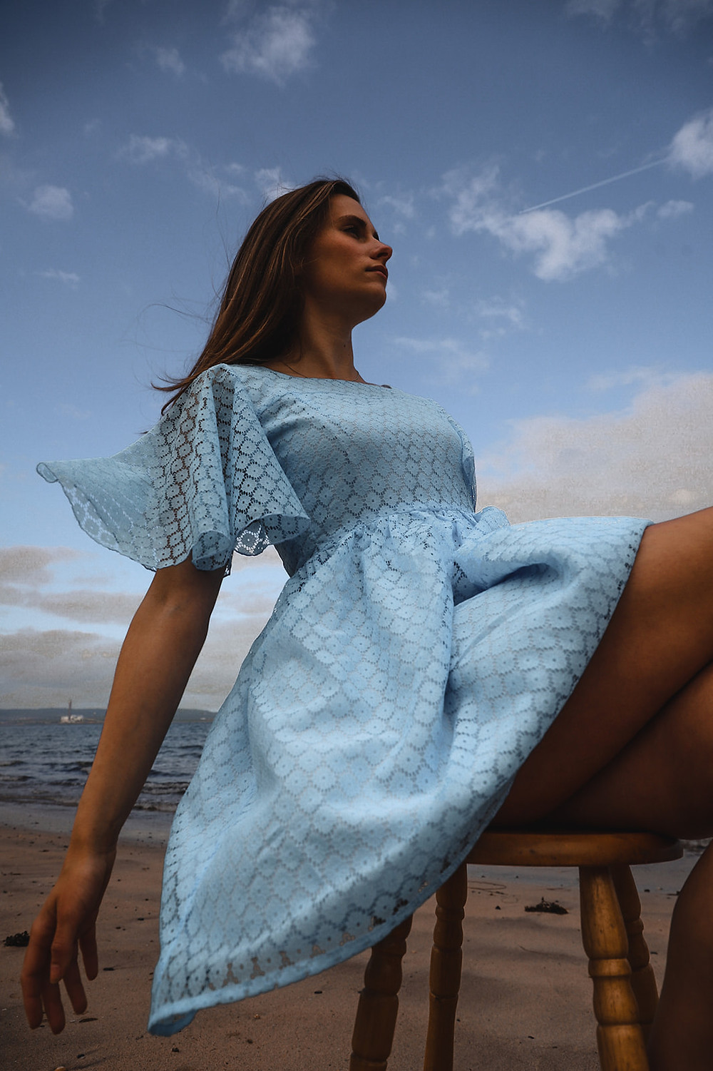 Blue pearl mini dress, A delicate powder blue lace dress with a stunning flutter sleeve. Mini dress with a full skirt