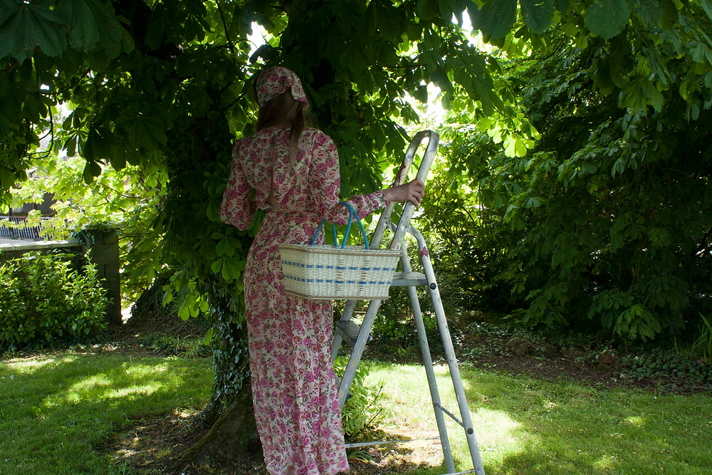 Rose print maxi dress with matching head scarf, standing under a horsechesnut tree on a ladder holding a basket. pink floral dress with an open back long sleeves and front slit