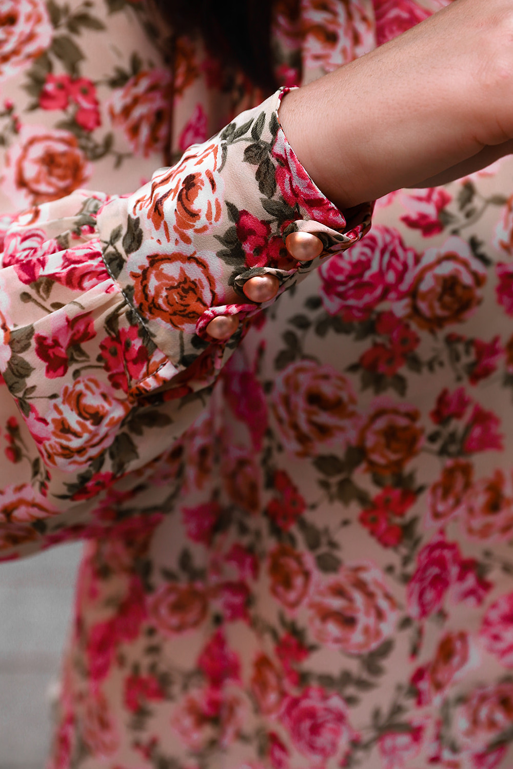 Marrakesh Rose blouse cuff detail. Pearl buttons and full sleeve.