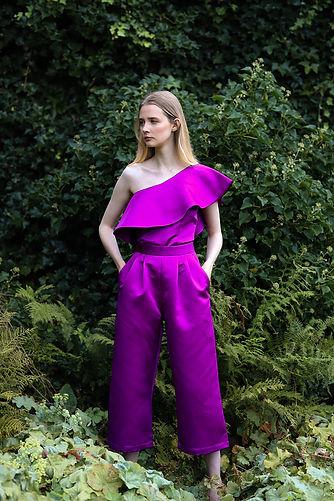 satin purple 2 piece set with corset top