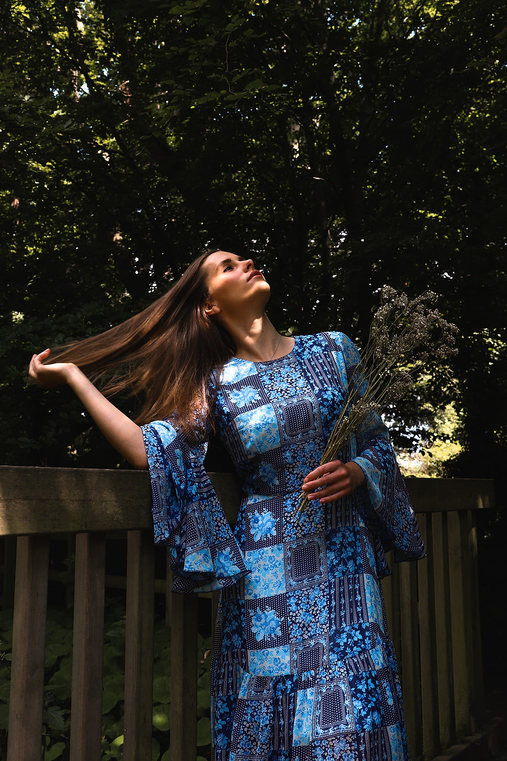 Blue handkerchief print dress, with dramatic bell sleeves and a line skirt