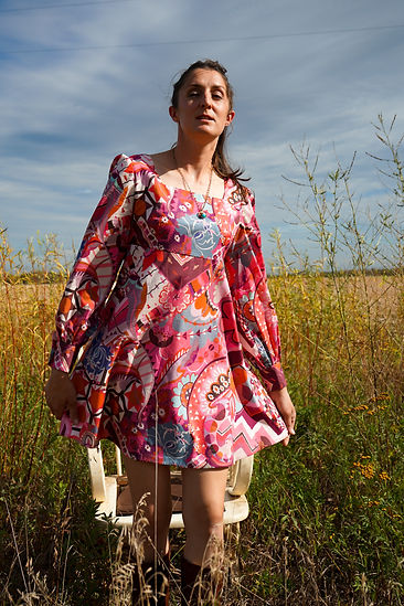 mini dress with long sleeves and abstarct colourful print