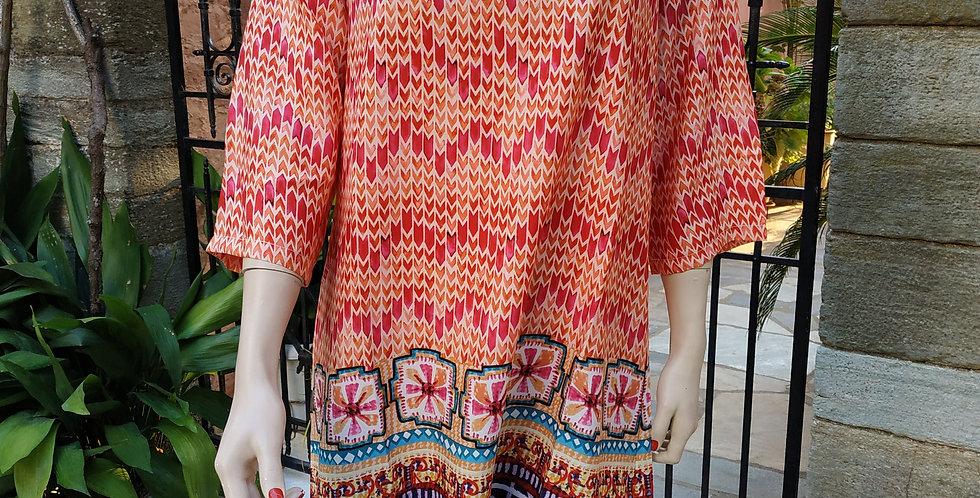 Φόρεμα midi με σχέδια πολύχρωμο.