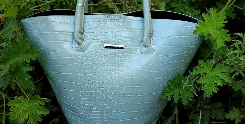 Τσάντα χειρός σε ανοιχτο πράσινο χρώμα με Croc σχέδιο