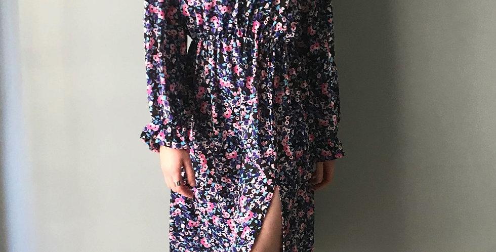 Φόρεμα midi λουλουδάτο με σκίσιμο στη φούστα