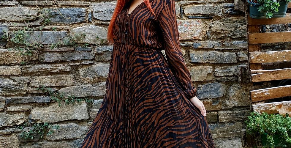 Φόρεμα μακρυμάνικο μάξι με πλισέ φούστα