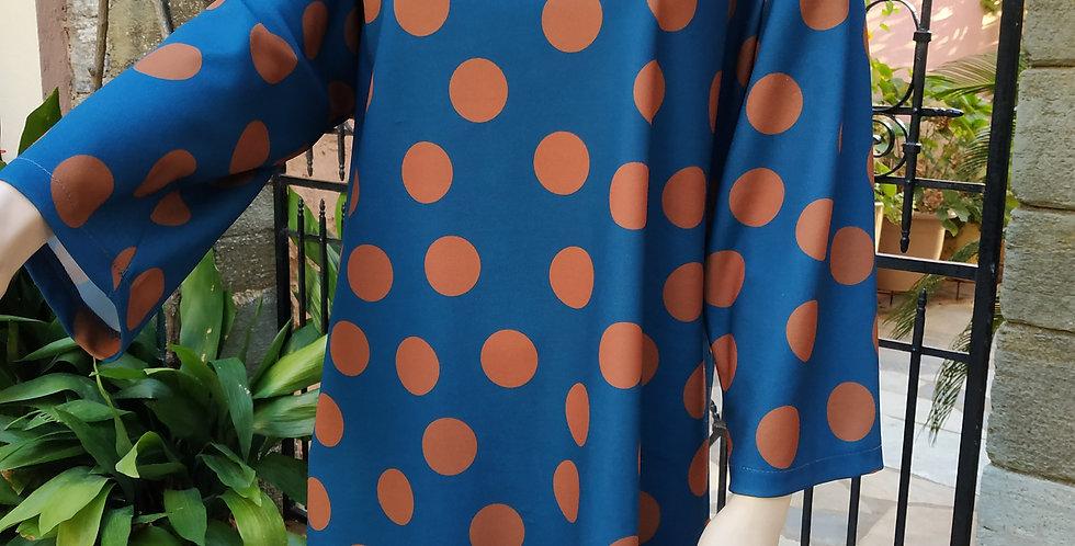 Φόρεμα με βούλες μπλε καφέ
