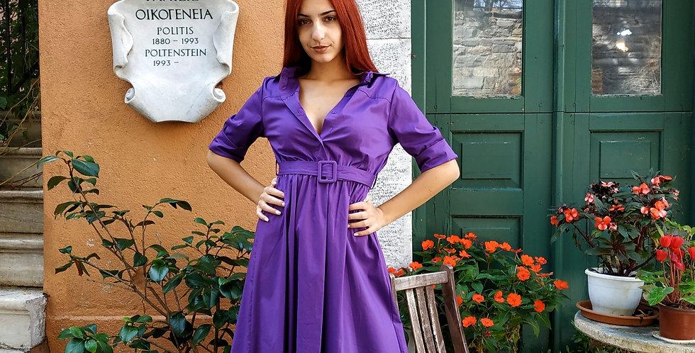 Φόρεμα μάξι σε στυλ πουκάμισο σε χρώμα μωβ.