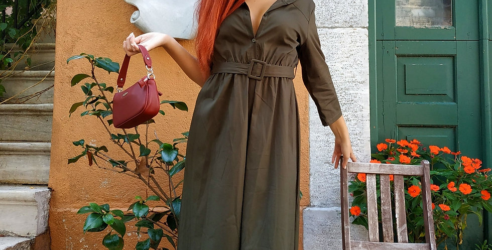 Φόρεμα σε στυλ πουκάμισο σε χρώμα χακί.