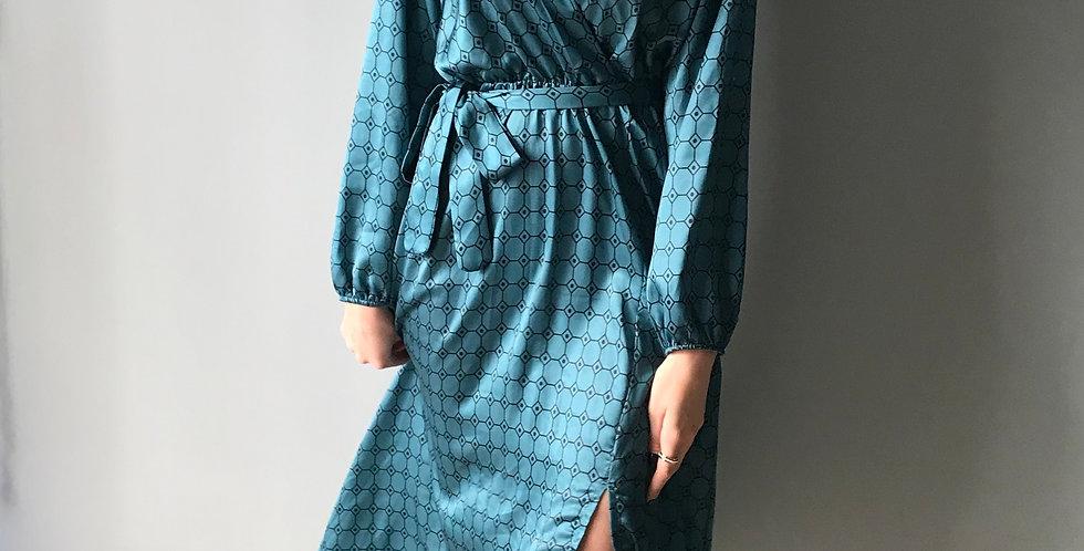 Φόρεμα μπλε μακρυμάνικο σατενιζέ με βάτες