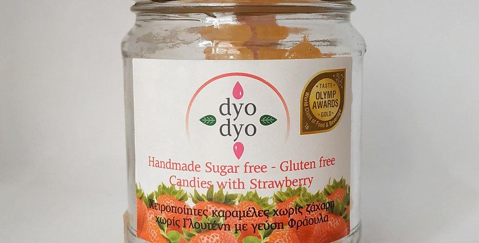"""Χειροποίητες καραμέλες """"dyo dyo"""" με φράουλα"""