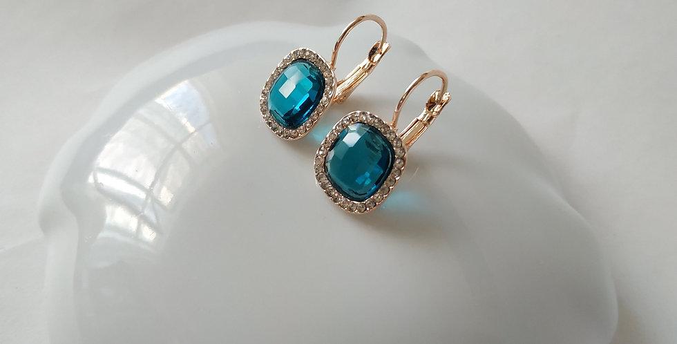 Σκουλαρίκια τετράγωνα γαλάζια με στρας