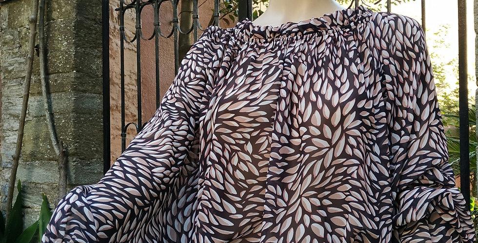 Μπλούζα μακρυμάνικη με φύλλα σε σκούρα χρώματα