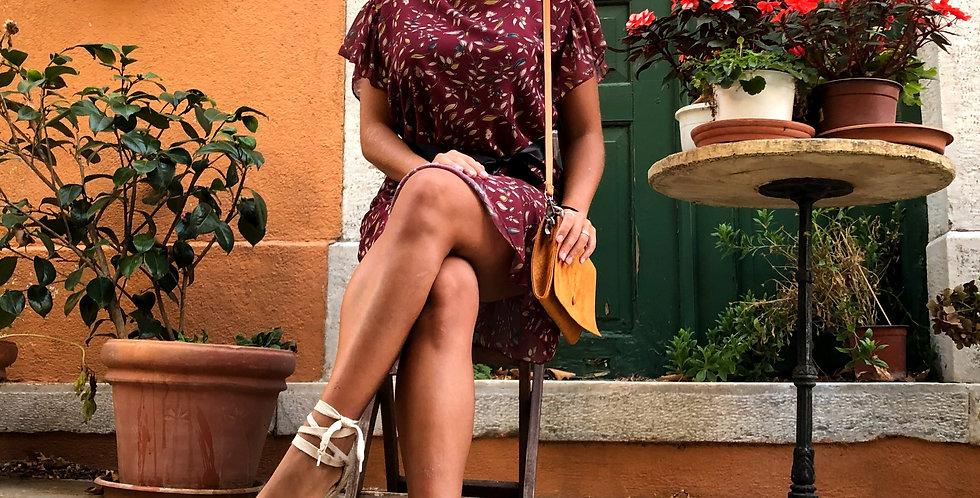 Κοντομάνικο φόρεμα μπορντό με λουλούδια