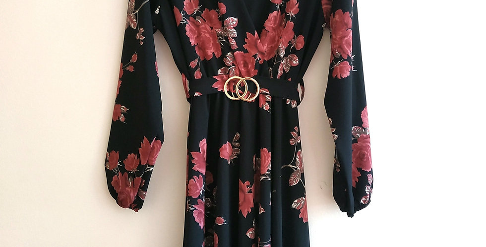 Φόρεμα midi μαύρο με λουλούδια