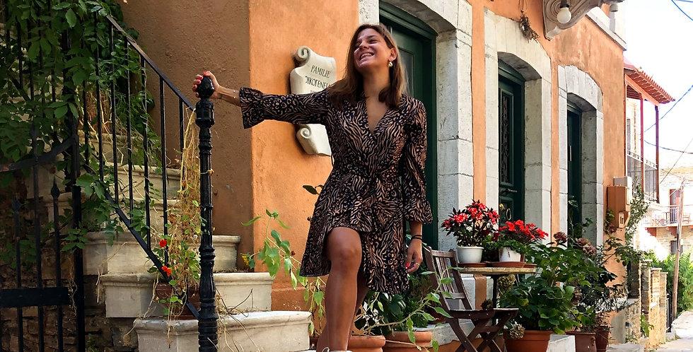 Φόρεμα μακρυμάνικο με σχέδια μαύρο μπεζ.