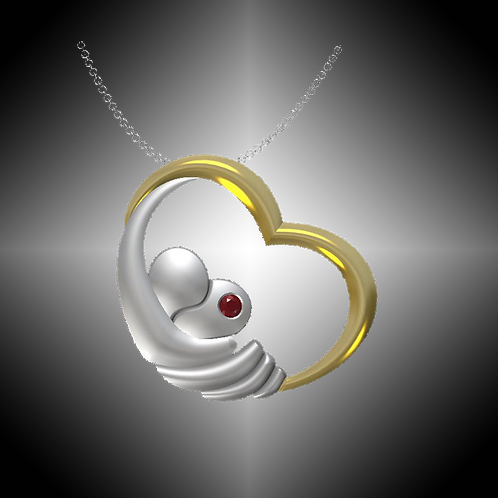 GK Cares Heart Pendant Sterling Silver & 14K Gold