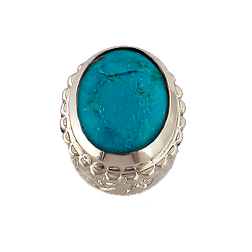 Oval Opaque & CZ Sterling Silver Bezel with Turquoise