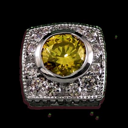 Square Halo Collection Sterling Silver Bezel with Lemon Quartz & CZ