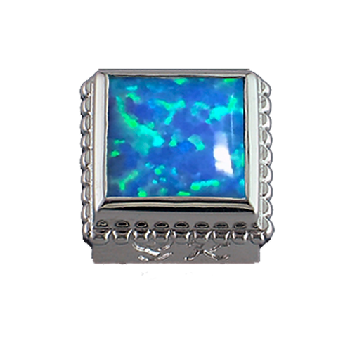 Square Opaque & CZ Sterling Silver Bezel with Simulated Opal Blue
