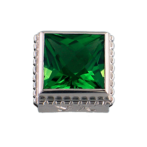 Square Opaque & CZ Sterling Silver Bezel with CZ Green