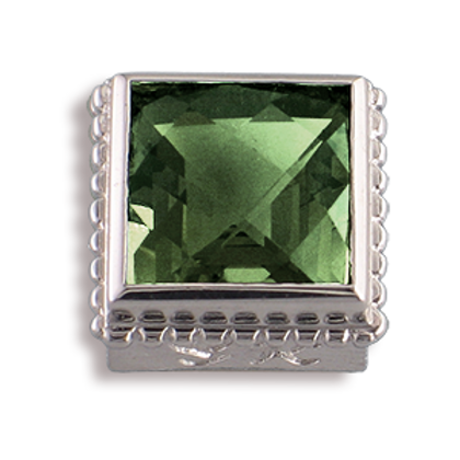 Square Gemstones Sterling Silver Bezel with Green Amethyst
