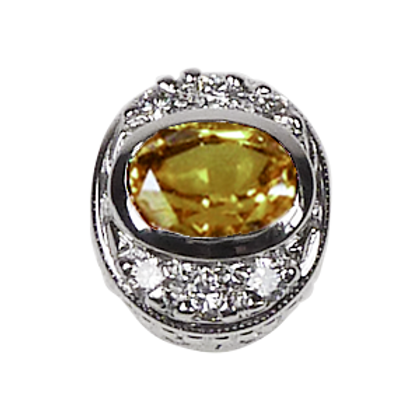 Oval Halo Collection Sterling Silver Bezel with CZ Fancy Yellow & CZ