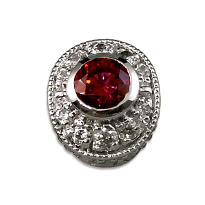 Oval Halo Collection Sterling Silver Bezel with Lab  Ruby & CZ