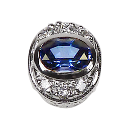 Oval Halo Collection Sterling Silver Bezel with CZ Fancy Blue & CZ