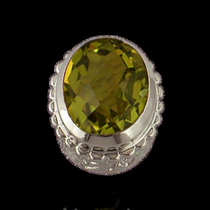 Oval Gemstones Sterling Silver Bezel with  Quartz Doublet Lemon