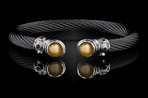 Capri Black Live Wire Bracelet with Citrine & Mother of Pearl Doublets