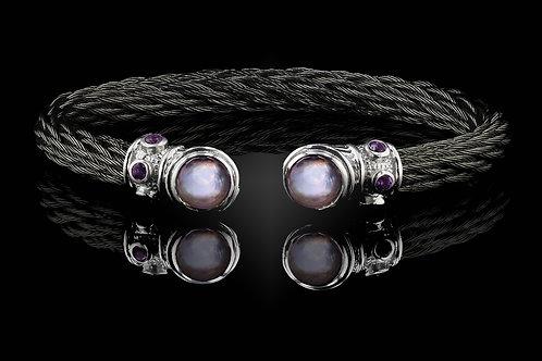 Capri Black Nouveau Braid Bracelet with Lavender Amethyst & MOP Doublets