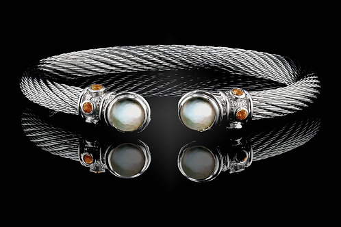 Capri White Live Wire Bracelet with Crystal & Mother of Pearl Doublets