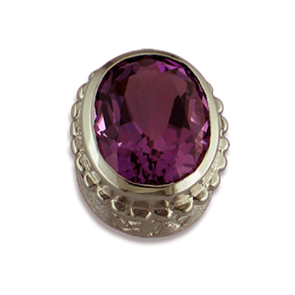 Oval Gemstones Sterling Silver Bezel with Amethyst