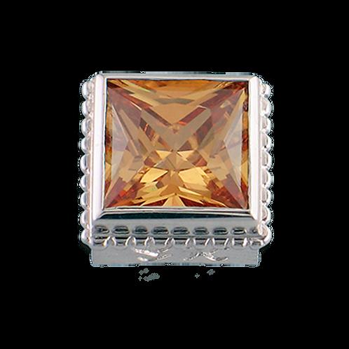 Square Opaque & CZ Sterling Silver Bezel with CZ Cognac