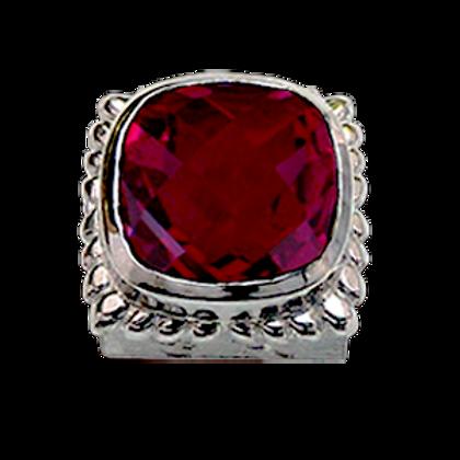 Square Gemstones Sterling Silver Bezel with  Quartz Doublet Pink